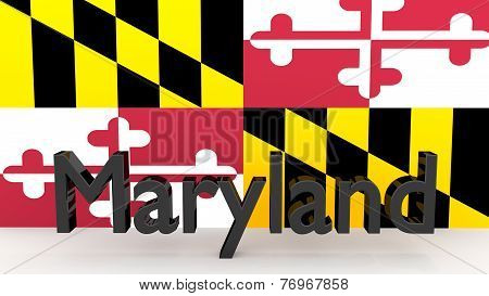 Us State Maryland, Metal Name In Front Of Flag