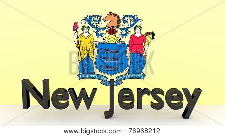 Us State New Jersey, Metal Name In Front Of Flag