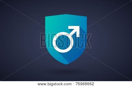 Long Shadow Shield Icon With A Male Sign