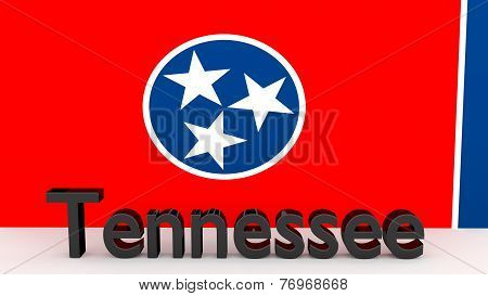 Us State Tennessee, Metal Name In Front Of Flag