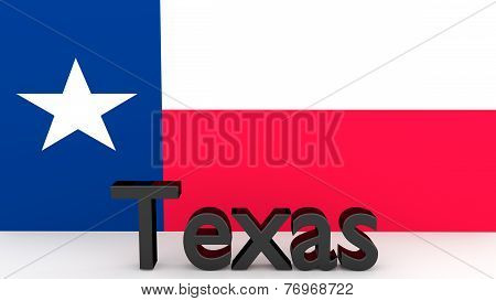 Us State Texas, Metal Name In Front Of Flag