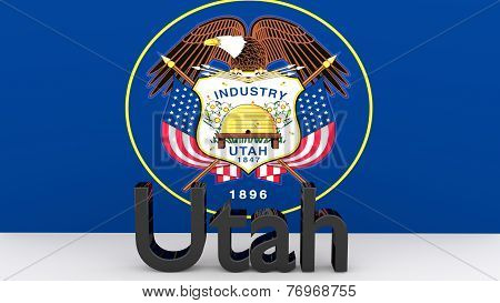 Us State Utah, Metal Name In Front Of Flag