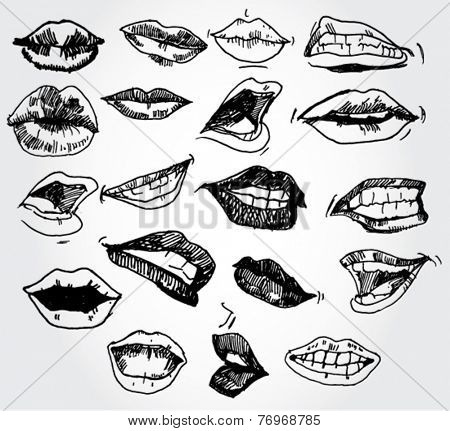 Set of Lips Hand Drawn
