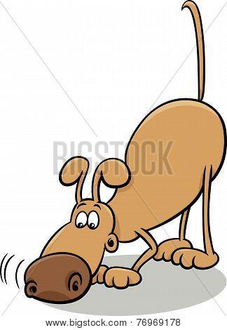 Tracking Dog Cartoon Illustration