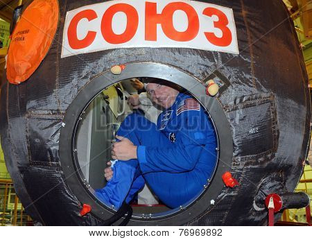 Terry Virts In Soyuz Spacecraft During Fit Check