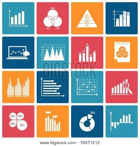 Business chart icons set white