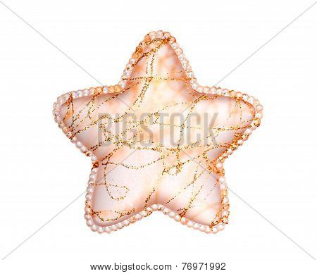 Glass Christmas Star With Golden Decoration