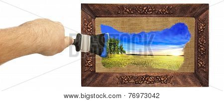 Picture Painted With A Brush