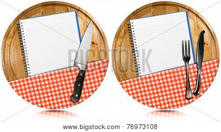 Empty Notebooks On Round Wood Cutting Boards