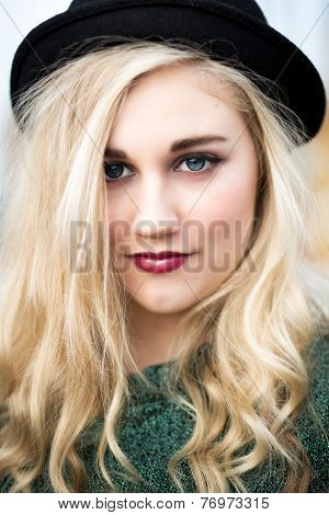 Beautiful Blond Teenage Girl In A Bowler Hat