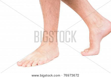Young Male Person Walking Barefeet Isolated On White