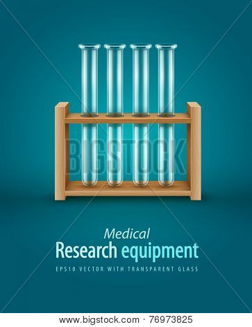 Empty glass test-tubes for medical laboratory analysis research in wooden support. Eps10 vector illustration