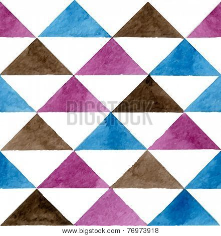 Seamless abstract watercolor retro triangular background