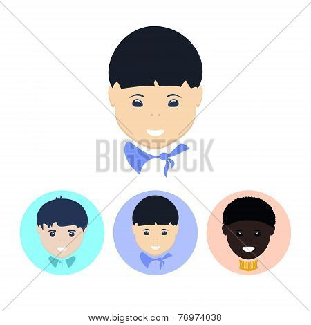Set Icons With   European Boy,asian Boy, African American Boy, Vector Illustration