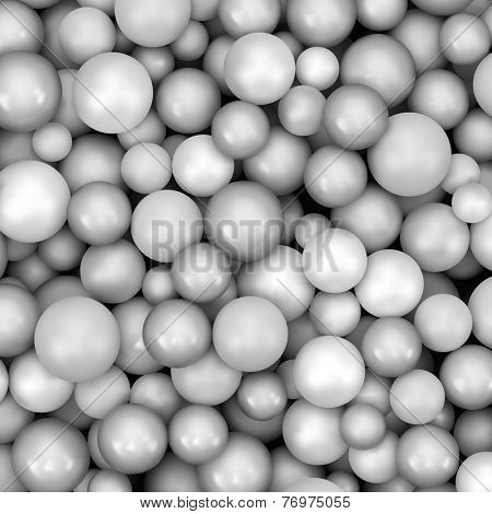 Abstract vector background with various balls. Spheric pattern. 3d vector illustration.