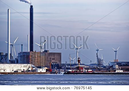 Power Plant And Vertical Axis Wind Turbines In The Sea Port