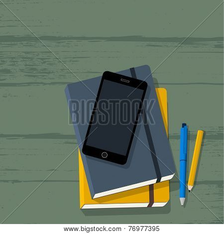 Education workplace with notebook, phone, pencil & pen on wooden school desk