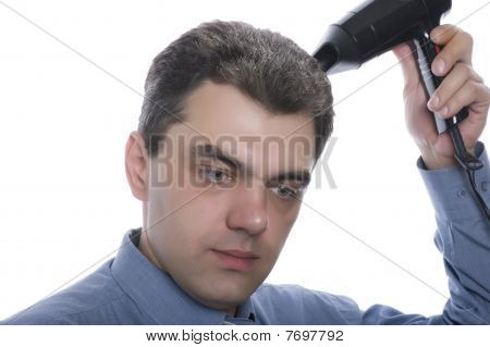 Men With Hairdryer Close Up