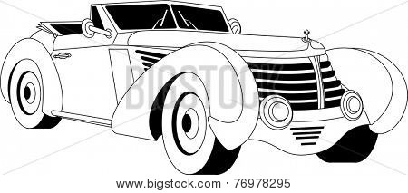 Old classic vintage car drown in black on white