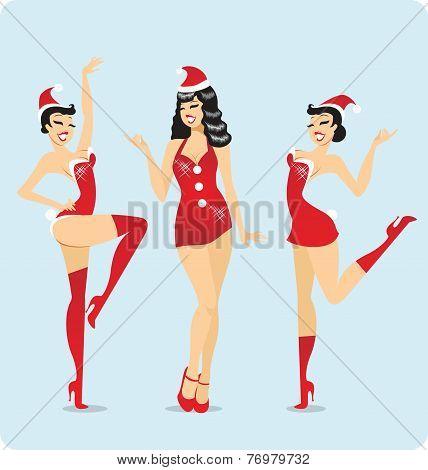 Santa showgirls