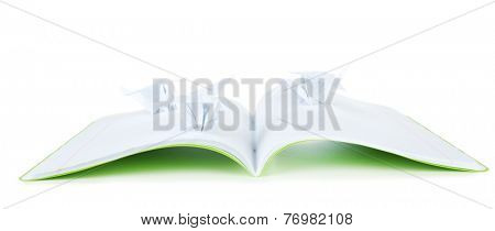 Origami cranes on notebook, isolated on white