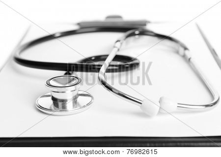 Stethoscope on light background