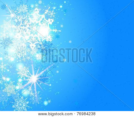 Holiday snowflakes background with place for text. Vector festive illustration.