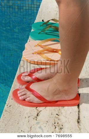 feet on the pool
