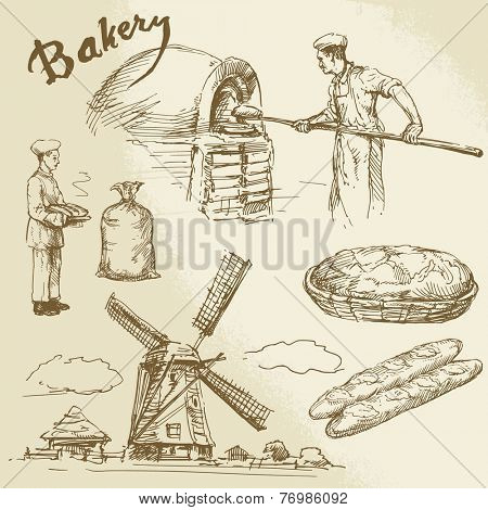baker, bread, windmill - hand drawn collection
