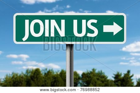 Join Us creative green sign