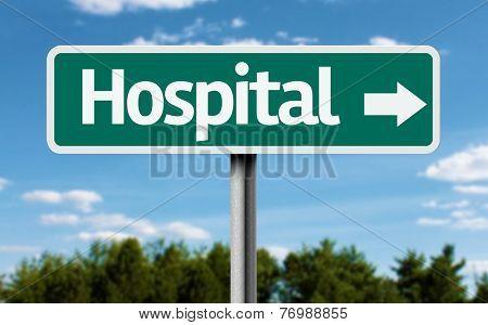 Hospital creative green sign