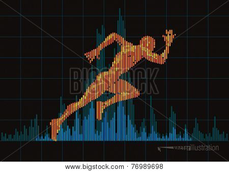 Concept of a running man and digital equalizer. Vector illustration