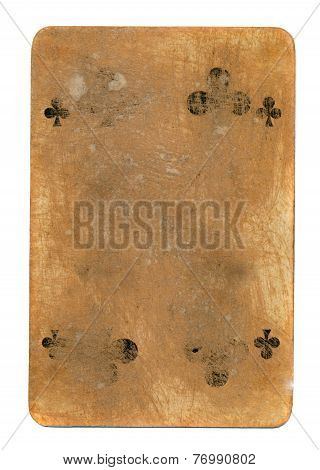 Old Tattered Playing Card Of Clubs Paper Background