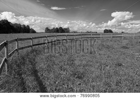 Rural Landscape Farmland Field With Wooden Fence, B&w Picture