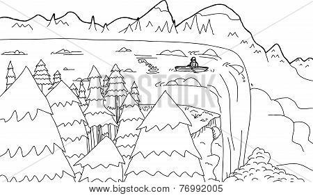 Outline Of Boat At Waterfall