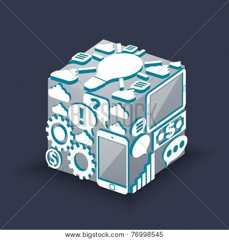 Cube of cloud computing schema concept