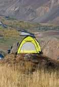 Tourist Yellow Tent poster