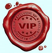 image of exclusive  - exclusive VIP treatment or tickets for very important people and celebrities red wax seal stamp  - JPG