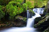 stock photo of cataract  - Waterfall in the national park Sumava - JPG