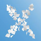 image of x-files  - letter X composed by paper on blue background - JPG
