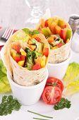 stock photo of sandwich wrap  - tortilla wraps - JPG
