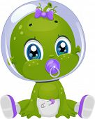 image of suck  - Illustration Featuring a Female Baby Alien in Diapers Sucking a Pacifier - JPG