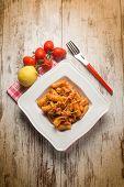 image of swordfish  - spaghetti with swordfish ragout and lemon peel - JPG