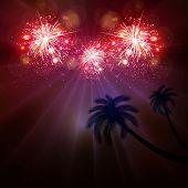 stock photo of happy new year 2014  - Happy New Year celebration background fireworks art concept - JPG