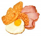 picture of hash  - Fried egg and bacon with hash browns and baked beans isolated on a white background - JPG