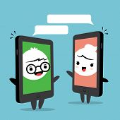 foto of kawaii  - Smart phone chat online concept cartoon man and woman face on smart phone screen - JPG