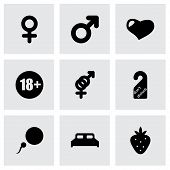 stock photo of masturbate  - Vector sex icon set on grey background - JPG