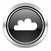 cloud icon, black chrome button, waether forecast sign  poster