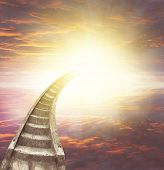 stock photo of stairway to heaven  - Stairway leading up to bright light  - JPG