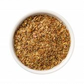 stock photo of flaxseeds  - Aerial view of whole ground Flax Seed Meal in a white ceramic bowl - JPG